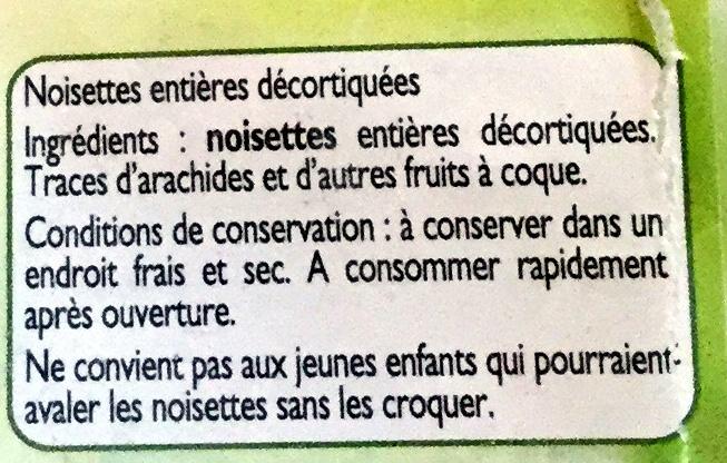 Noisettes décortiquées - Ingredients - fr