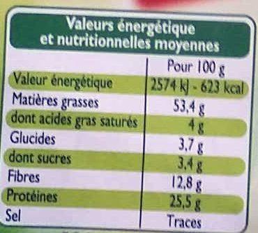 Amandes Décortiquées - Nutrition facts