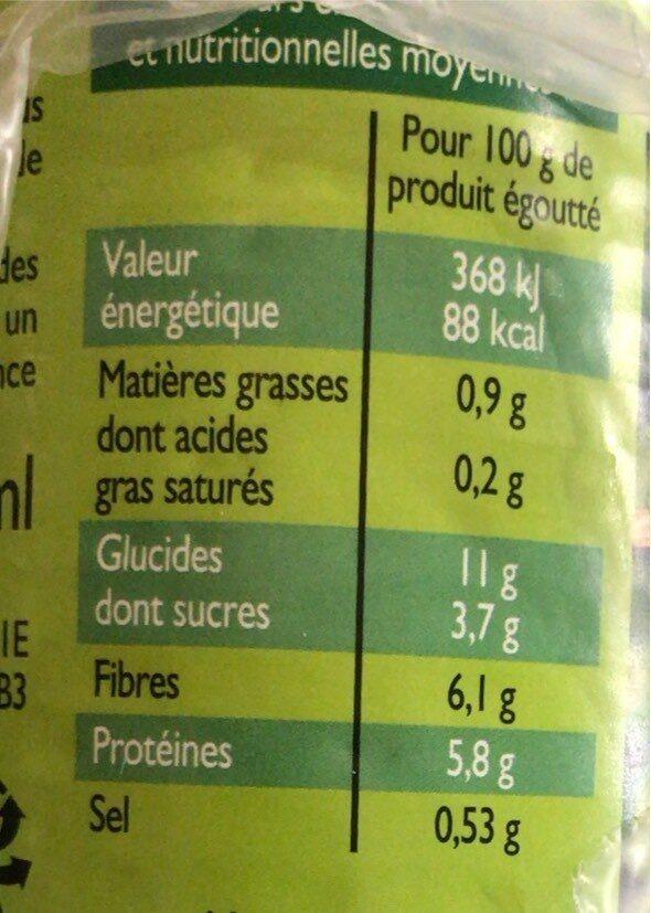 Pack de 3 boîtes de Petits Pois Extra-fins - Voedingswaarden - fr