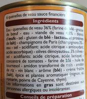 Quenelles de veau sauce financière - Ingrédients