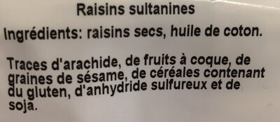 Raisins sultanines - Ingrédients