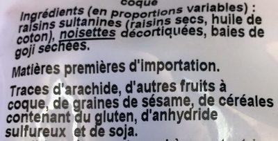 Raisins, Noisettes, Baies de Goji - Ingrédients - fr
