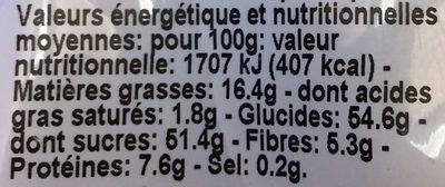 Raisins, Noisettes, Baies de Goji - Informations nutritionnelles - fr