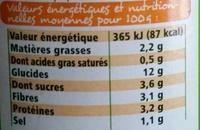 Raviolis végétariens bio - Voedingswaarden - fr