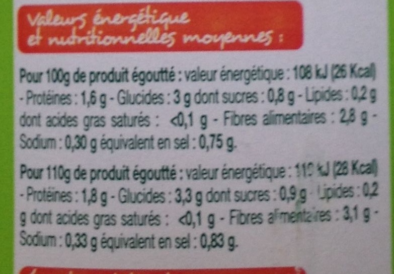 Haricots verts extra-fins Bio - Informations nutritionnelles - fr
