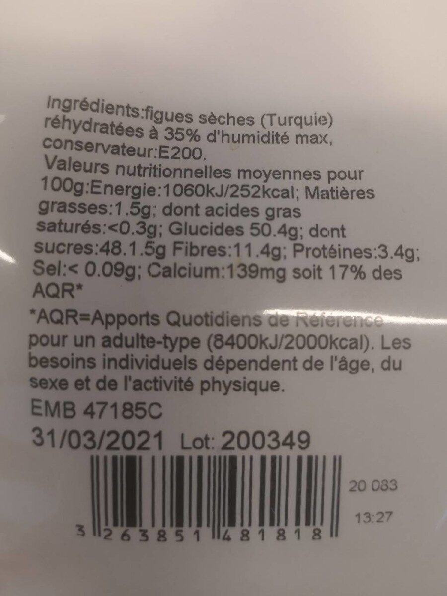 Figues moelleuses - Nutrition facts - fr