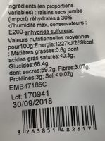 Raisins moelleux - Ingredients - fr