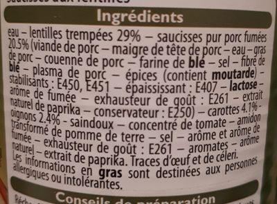 Saucisses Aux Lentilles, Les Connaisseurs, 420 Grammes, Marque Leader Price - Ingredients