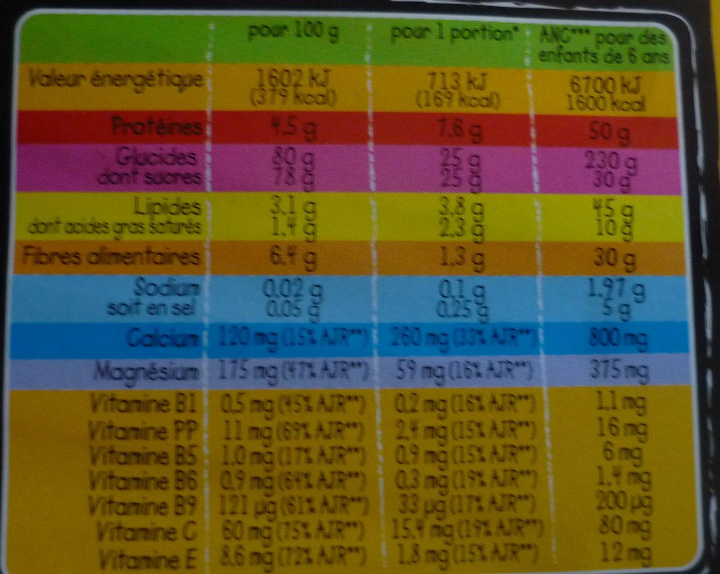 Poudre instantanée - Información nutricional - fr