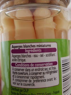 Asperges miniatures pelées main - Ingrediënten