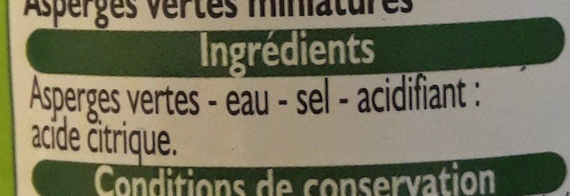 Asperges miniatures - Ingrédients