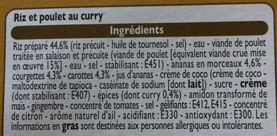 Poulet au Curry et son Riz - Ingrédients