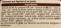 Couscous aux légumes et son poulet - Inhaltsstoffe - fr