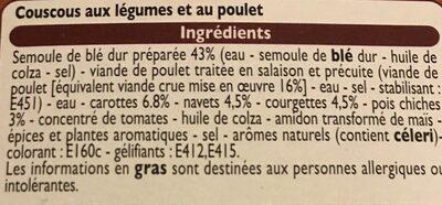 Couscous aux légumes et son poulet - Inhaltsstoffe