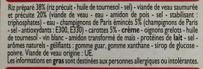 Blanquette de Veau et son riz - Inhaltsstoffe
