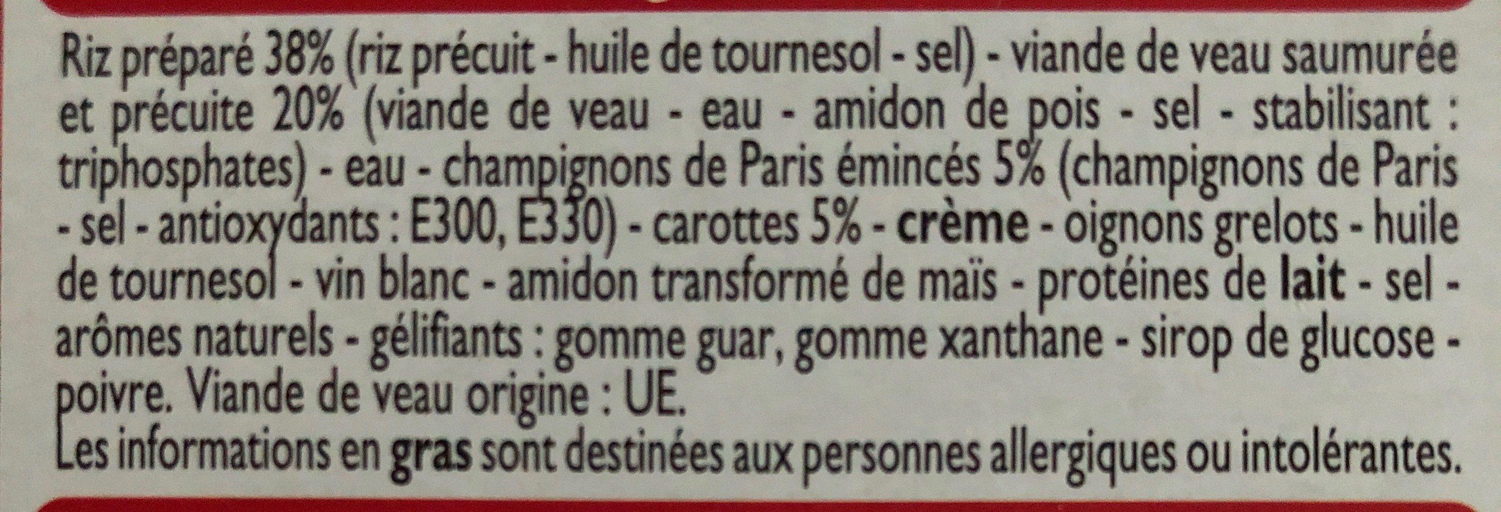 Blanquette de Veau et son riz - Ingrédients - fr