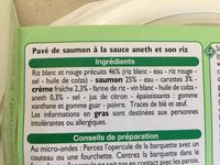 Pavé de saumon sauce Aneth et son riz - Ingredients - fr