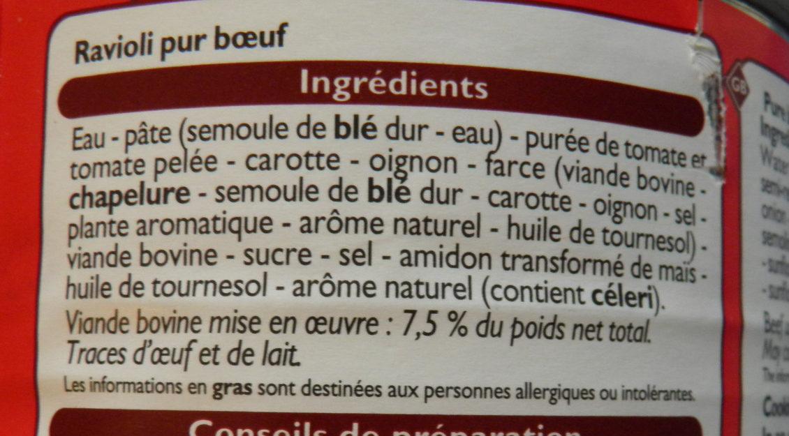 Ravioli Pur Bœuf Leader Price - Ingrédients - fr