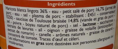 Cassoulet toulousain au petit salé de Porc - Ingredients - fr