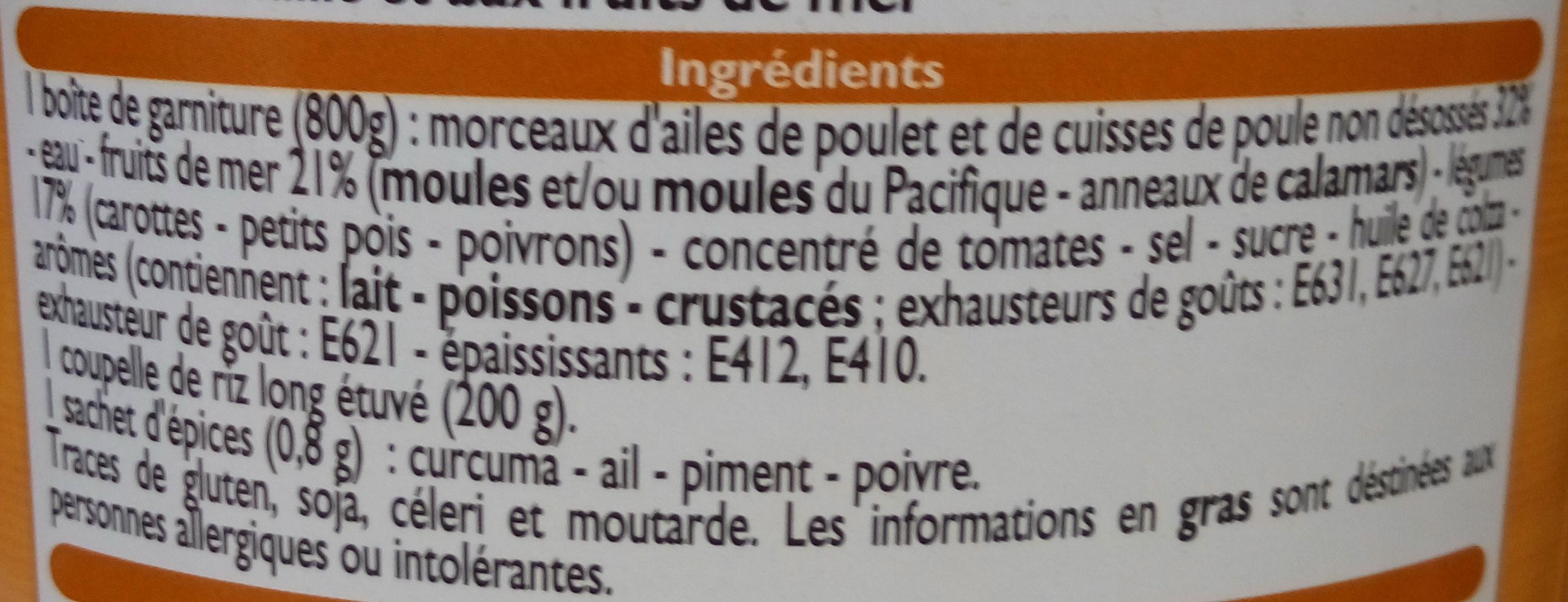 Paëlla à la volaille et aux fruits de mer - Ingrédients - fr