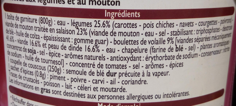 Couscous légumes et mouton - Ingrédients - fr