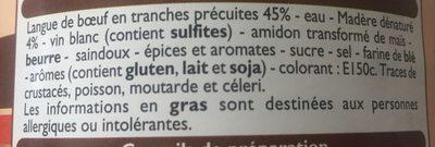 Langue de boeuf sauce madere - Ingrédients