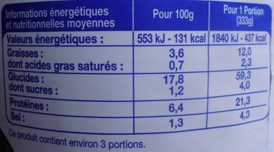 Paëlla volaille et fruits de mer (3 pers.) - Informations nutritionnelles - fr