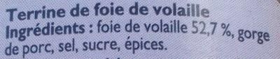 Terrine de Foie de Volaille - Ingrédients - fr