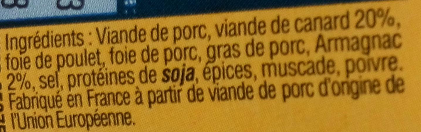Terrine de Canard à l'Armagnac - Ingredients