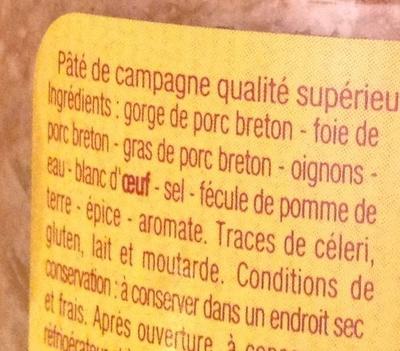Pâté de campagne au porc breton - Ingrédients - fr