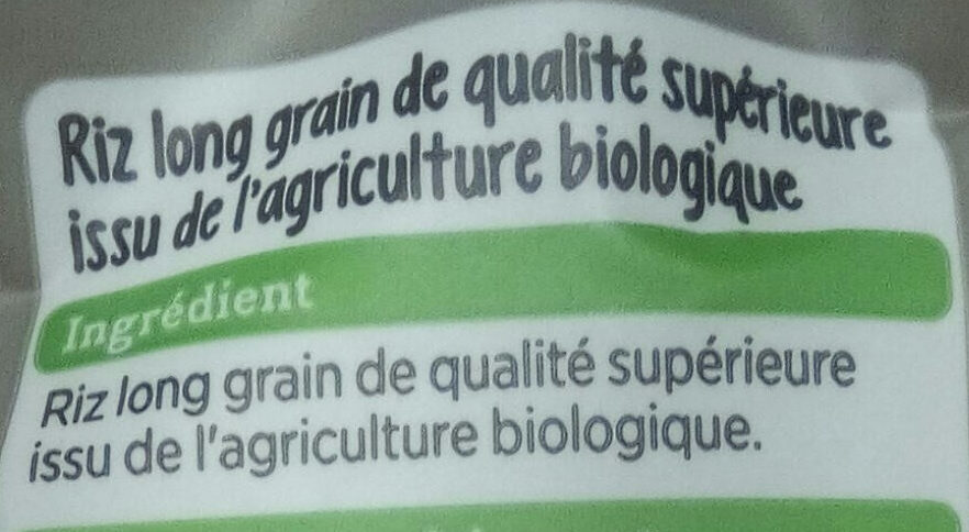 riz blanc bio - Ingrediënten - fr