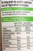 riz blanc bio - Voedingswaarden - fr