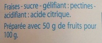Fine Ligne Confiture Fraise - Ingrédients