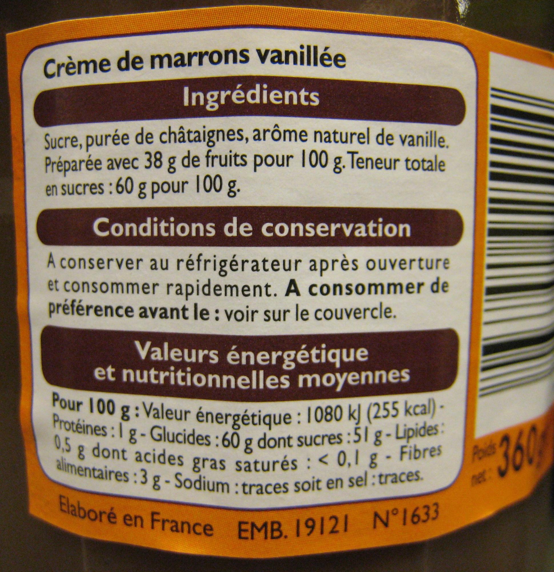 Crème de marrons vanillée - Ingredients