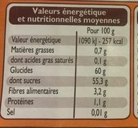 Crème de marrons vanillée - Nutrition facts