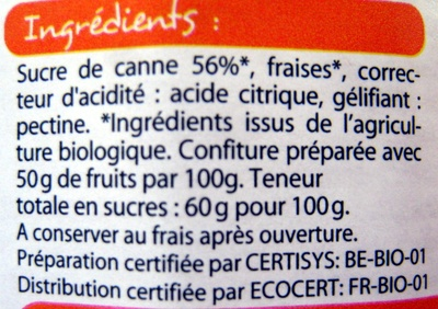 Confiture extra de fraise Bio Leader Price - Ingrédients