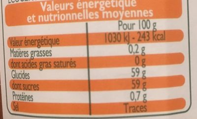 Confiture Abricot - Nutrition facts