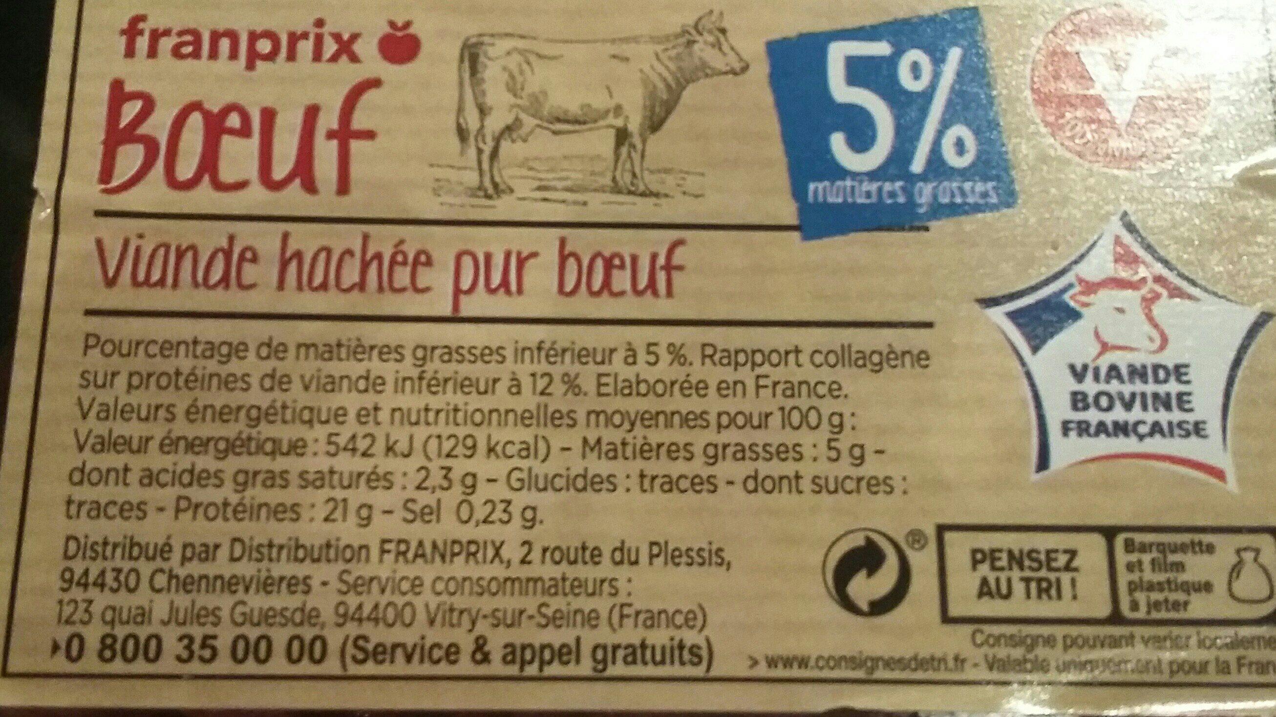 Viande hachée pur boeuf 5% - Ingrediënten - fr