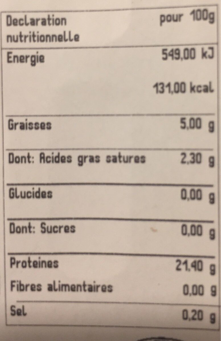 Viande hachée pur boeuf 5% - Voedingswaarden - fr