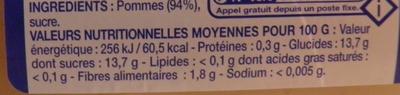 Compote de pommes allégée en sucres - Informations nutritionnelles