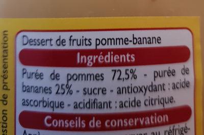 Dessert De fruit pomme banane - Ingrédients - fr