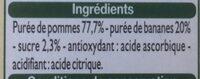 Compote allégée pomme banane - Ingrédients