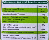 Compote allégée pomme banane - Informations nutritionnelles