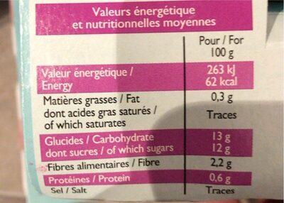 Puree de pommes pruneau - Nutrition facts - fr