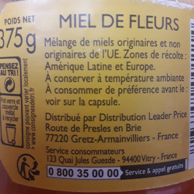 Miel de fleurs - Voedigswaarden