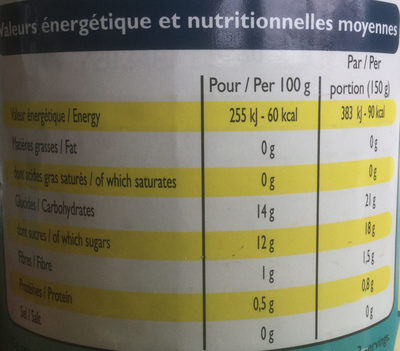Ananas en tranches - Informations nutritionnelles - fr