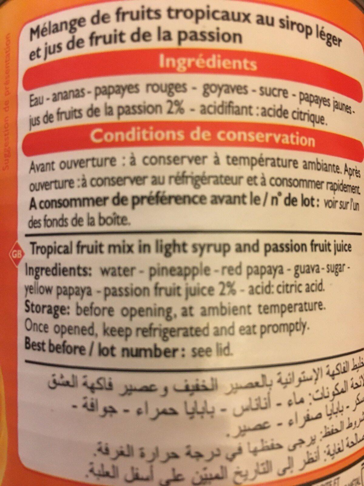 Fruits au Sirop Léger - Ingredienti - fr