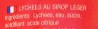 Lychees au sirop léger - Ingrédients - fr