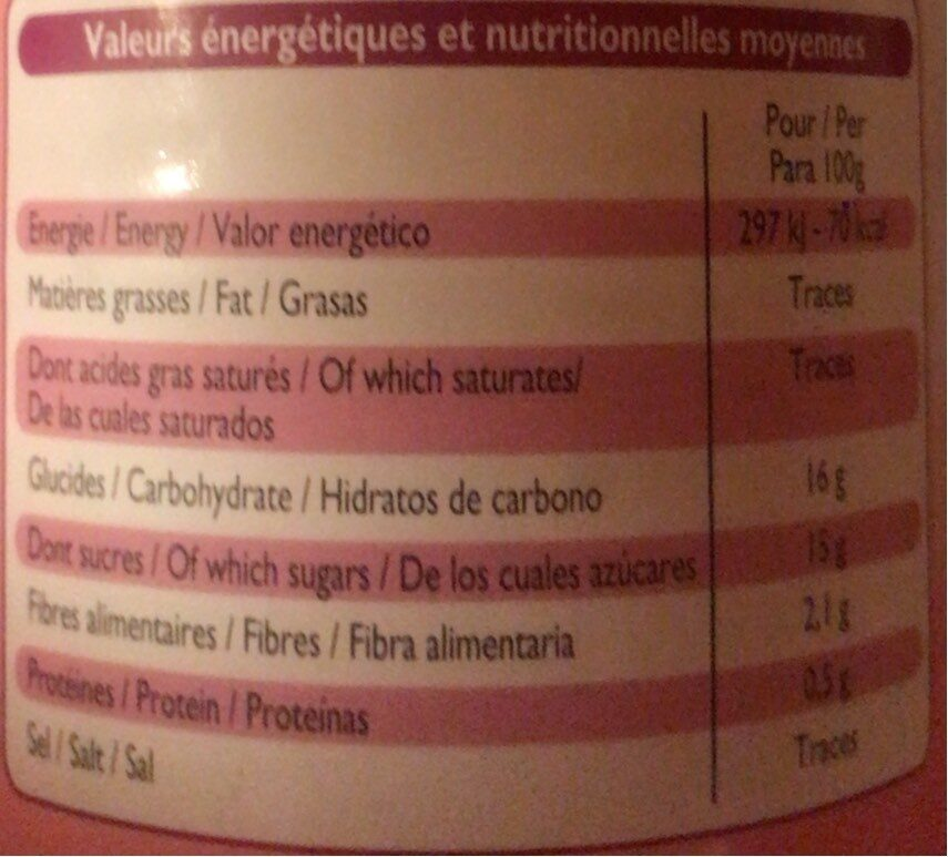 Lychees au sirop léger - Informations nutritionnelles - fr