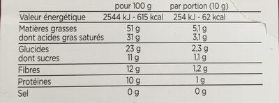 tablette degust choco noir 90%Perou équitable bio - Voedingswaarden - fr